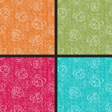 Set of rose seamless retro patterns Royalty Free Stock Images