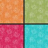 Set of rose seamless retro patterns Royalty Free Stock Images