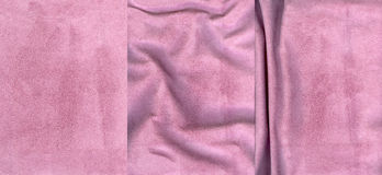 Set of rose suede leather textures. For background Royalty Free Stock Photo