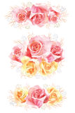 Set of rose watercolor flower bouquets. Elegance watercolor bouquets of red and yellow roses. Can be used as a greeting card for background, wedding and so on Stock Images