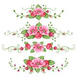 Set of roses banners. Banner in the victorian style with roses. Design elements for your design Royalty Free Stock Image