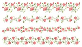 Set of roses borders Royalty Free Stock Photography