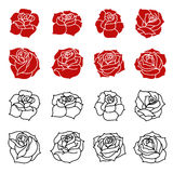 Set of the roses flowers silhouettes isolated on white backgroun Stock Photo