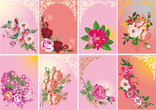 Set of roses in frames Stock Photography