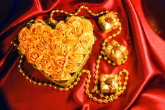 Set of roses like heart and little gifts Royalty Free Stock Images