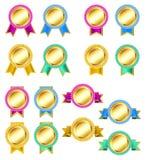 Set of rosette golden badges Royalty Free Stock Photos