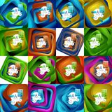 Set of rotating swirl square backgrounds, color rectangles with stepping blending effect with sample infographics or Royalty Free Stock Photo