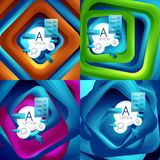 Set of rotating swirl square backgrounds, color rectangles with stepping blending effect with sample infographics or. Slogan. Business presentation templates Royalty Free Stock Images