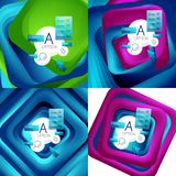 Set of rotating swirl square backgrounds, color rectangles with stepping blending effect with sample infographics or. Slogan. Business presentation templates Royalty Free Stock Photo