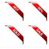 Set rote Eckfarbbänder Lizenzfreies Stockfoto