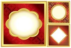 Set rote und goldene dekorative Felder stock abbildung