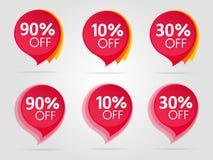 Set rote Verkaufs-Aufkleber Lizenzfreie Stockbilder