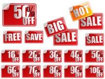 Set rote Verkaufs-Aufkleber Lizenzfreie Stockfotografie