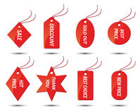 Set rote Verkaufsaufkleber Lizenzfreie Stockbilder