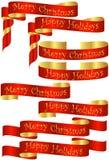 Set rote Weihnachtsfeiertags-Fahnen Stockfotos
