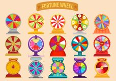 Set of roulette fortune spinning wheels. Lottery luck illustration vector illustration