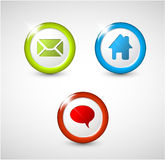 Set of round 3D buttons. Home, email, chat, discussion Royalty Free Stock Photography