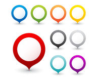 Set of round 3D map pointers. Set of  round 3D map pointers, 9 colors Stock Image