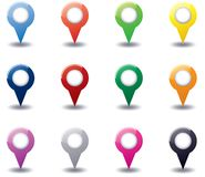 Set of round 3D map pointers Royalty Free Stock Photography