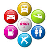 Set of round 3D transport buttons. Car, bus, train, plane, gas station Royalty Free Stock Photo