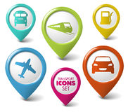 Set of round 3D transport pointers. Car, bus, train, plane, gas station Stock Images