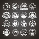 Set of 16 round agricultural and farming badges. Set of 16 agricultural and farming badges (cereal cultivation, organic farming and natural healthy food) Royalty Free Stock Image