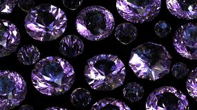 Set of round amethyst. Gemstone Stock Images