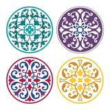 Set of round arabic ornaments. Colored patterns for decoration in Islamic style. Oriental ornament royalty free illustration