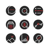 Set of round assessment and report logo. Concept of seo monitoring, job recruitment, company process. outline flat trend modern logotype or graphic art design Royalty Free Stock Image