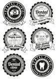 Set of round badges for dental clinic Stock Images
