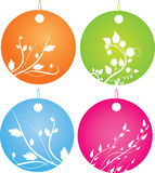 Set of round badges with floral ornament. Set of four round badges with floral decorative ornament Royalty Free Stock Image