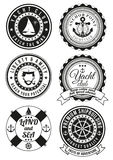 Set of round badges for sea and yacht club. Set of black yacht club and sea theme round badges on white background. Collection of elements for company logos stock illustration