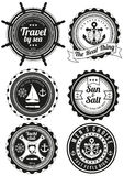 Set of round badges for sea and yacht club Royalty Free Stock Images