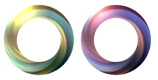 Set of round banner with swirling multicolor whirlpool. The object is separate from the background. stock illustration
