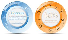Set round banners buttons with cracks. Set of vector round banners and buttons with cracks on the surface Vector Illustration