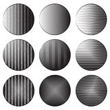 Set of round banners with engraving shading. Different types of hatching. The object is separate from the background. Black and white etching vector element Royalty Free Stock Image