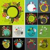 Set of round banners with floral background. Royalty Free Stock Images