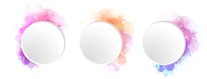 Set of round banners with watercolor splashes and sprays. The object is separate from the background. Vector element for banners, cards and your design Stock Photo