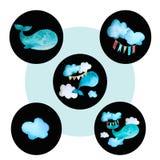 Set round barwione ikony wielorybie ilustracji