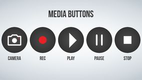 Set of round black camera media buttons. Vector illustration  on modern background. Set of round black camera media buttons. Vector illustration  on modern Royalty Free Stock Photo