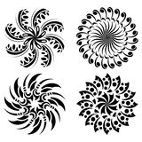 Set of round black design elements - vector Royalty Free Stock Image