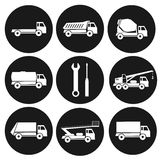 Set of 9 round black icons on types of industrial trucks. Collection of construction vehicles. Royalty Free Stock Photography
