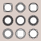 Set of Round Black Line Design Vintage Frames or Stock Photos