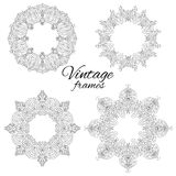 Set of round black and white vintage frames. Vector pattern for frames, invitations and your design Stock Photo