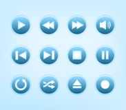 Set of round blue audio player buttons Royalty Free Stock Images