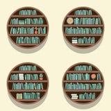 Set Of 4 Round Bookshelves On Wall Stock Image