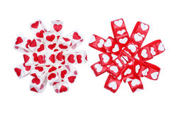 Set of round bows from ribbon hearts Stock Photo