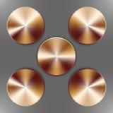 Set of round bronze disks Royalty Free Stock Image