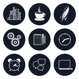 Set of Round Business Icons, Team Work. Set of Round Business Icons, Office Work, Team Work, Long Hours in the Office, Presentation and Discussion, Black and Royalty Free Stock Photos