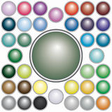 Set of round  buttons. Set of 37 varicolored round buttons for web design - blend only Stock Photos